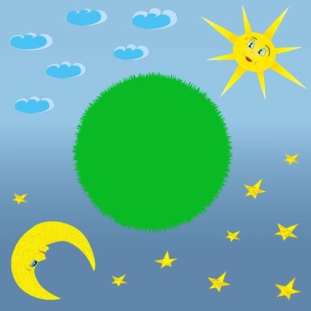 Green peace concept  Green Earth, sun, moon sky illustration