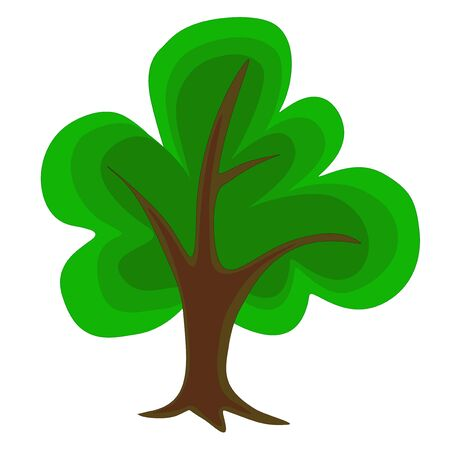 Single beautiful green tree isolated on white background Vector