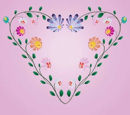 Heart frame from colotful flowers vector illustration on pink