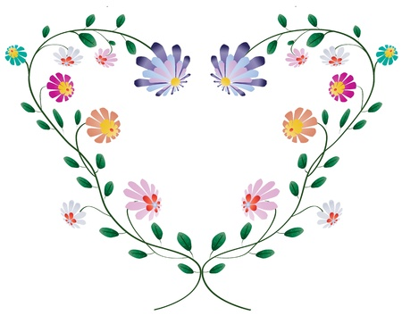 Heart frame from colotful flowers vector illustration isolated on white background