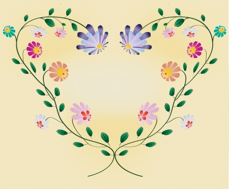 Heart frame from colotful flowers vector illustration on pastel background