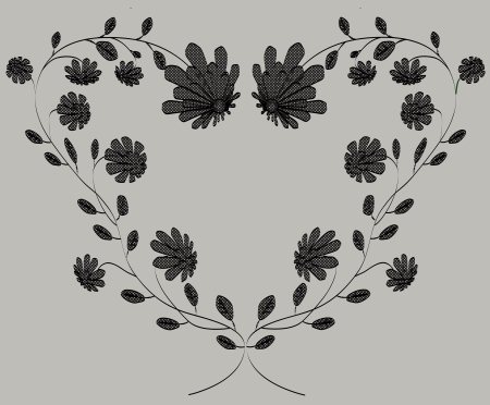Heart classic frame from flowers vector illustration on grey background