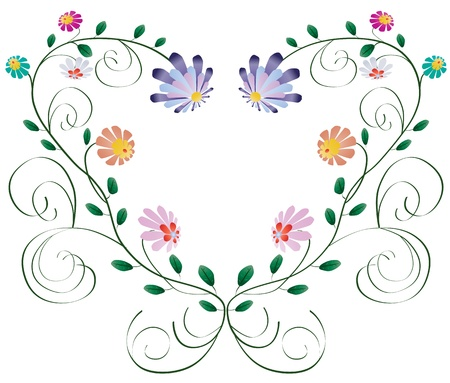 Heart frame from curls and colorful flowers isolated on white background