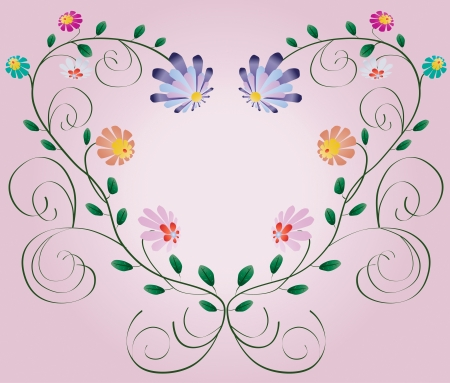 Heart frame from curls and colorful flowers isolated on pink background