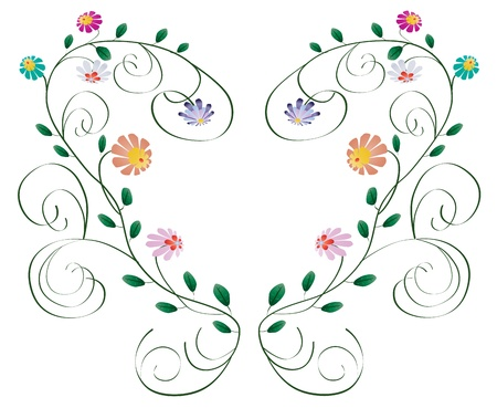 Heart frame from curls and flowers, leaves isolated on white background Vettoriali