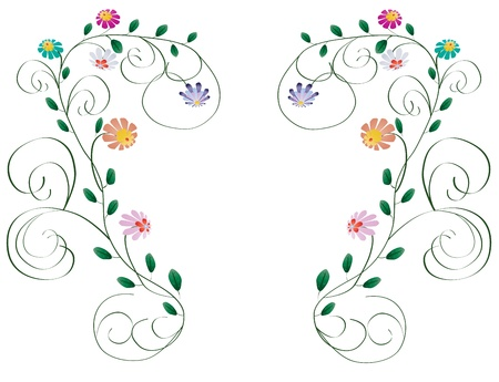 Beautiful frame from color flowers and curls isolated on white