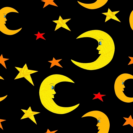 Smiling half moon and stars seamless pattern illustration on black sky background Vector