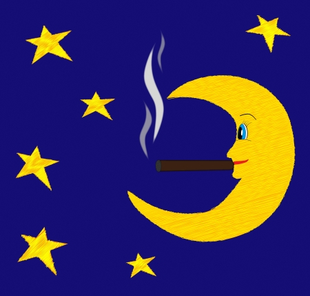 smoulder: Bright moon smoking cigar among bright stars vector illustration