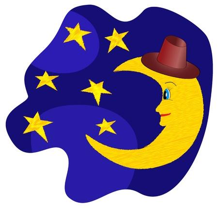 Funny moon in hat looking near the stars vector illustration Vettoriali