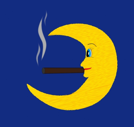 cigars: Happy fun moon smoking cigar vector illustration on blue dark sky Illustration
