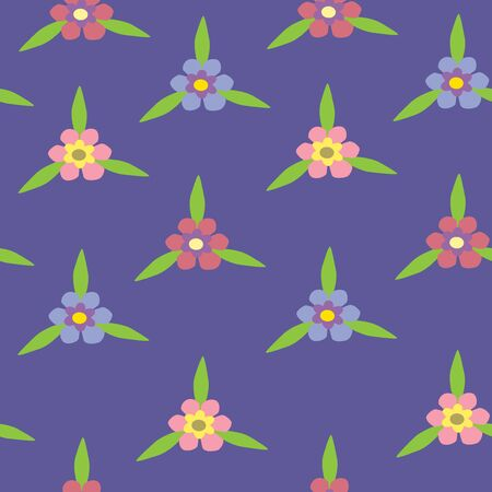 Illustration of seamless color flowers on blue background