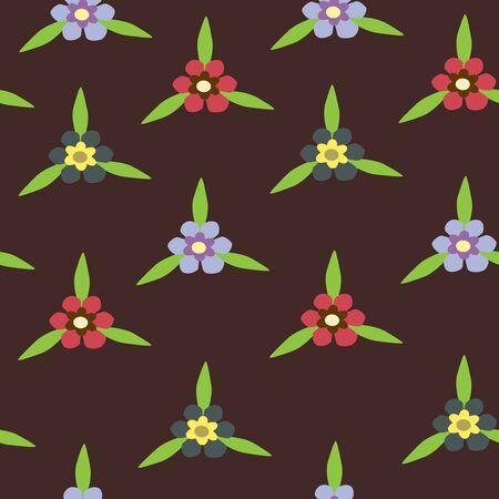 Illustration of seamless color flowers on dark background Vettoriali