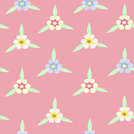 Illustration of seamless color flowers on light pink background