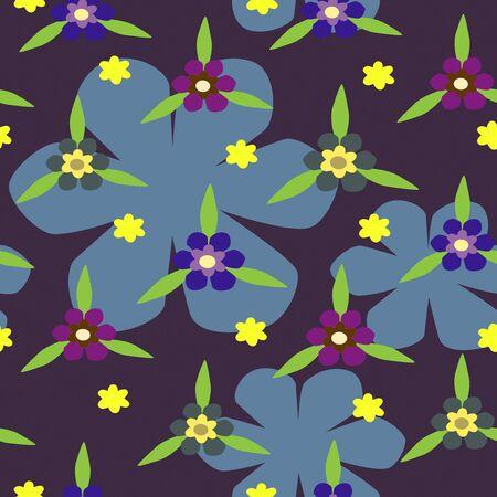 Illustration of seamless color flowers on dark blue background