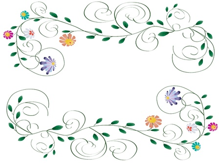 Beautiful frame illustration from flowers and curls isolated on white background