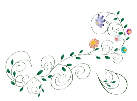 Elegant colorful flowers beauty branch with swirls isolated on white illustration Vettoriali
