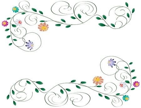 Beautiful wedding frame from flowers and curls isolated illustration on white background