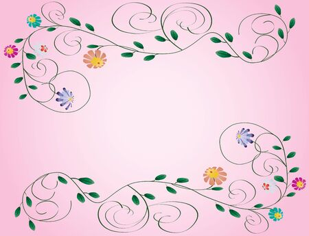 Beautiful wedding frame from flowers and curls on pink color background illustration background