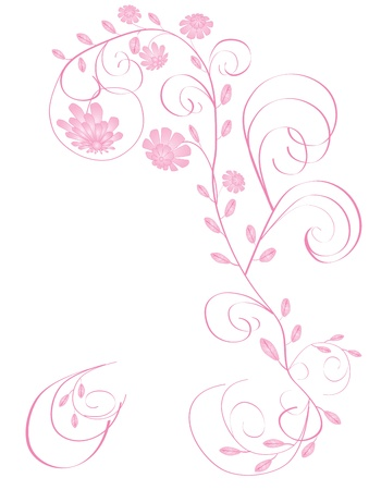Beautiful floral greeting frame with pink flowers isolated on white background  Vettoriali