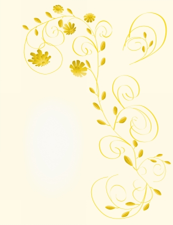 Beautiful floral greeting card with flowers in yellow color  Vector illustration