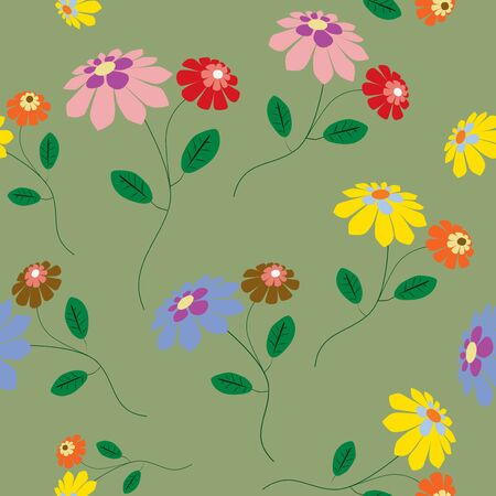 Elegant seamless from colorful flowers illustration on green