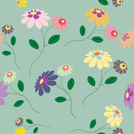 Elegant seamless from colorful flowers illustration on blue background Vettoriali