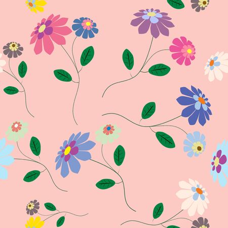 Romantic seamless from colorful flowers illustration on pink background