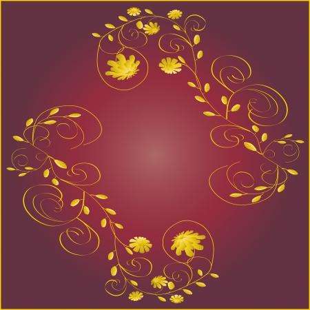 Beautiful yellow frame on dark red background vector illustration Vettoriali