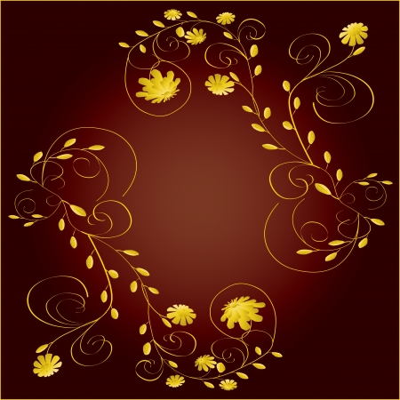 Beautiful yellow flowers frame on dark red background vector illustration Vettoriali