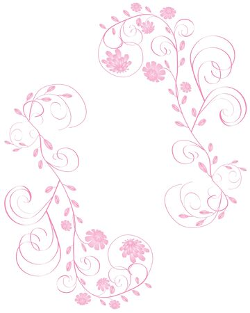 Elegant beautiful pink flowers frame isolated on white background Stock Vector - 14504306
