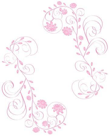 Elegant beautiful pink flowers frame isolated on white background