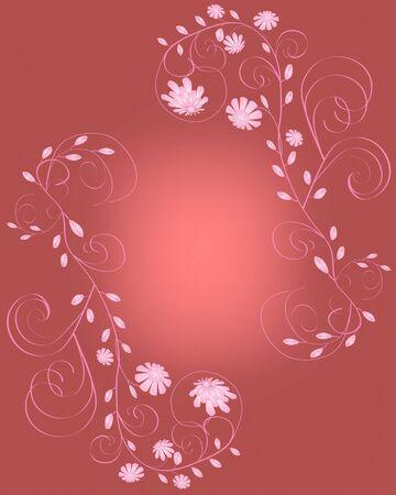 Elegant beautiful pink flowers frame on dark red background