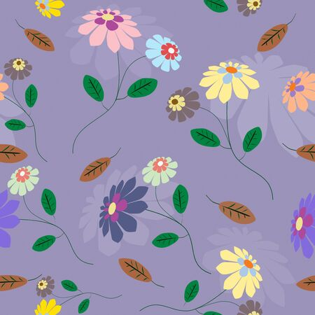Classic seamless from colorful flowers illustration on blue background