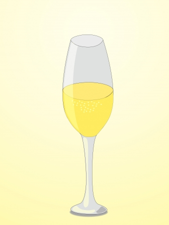 Elegant glass of champagne isolated on light yellow background Vector