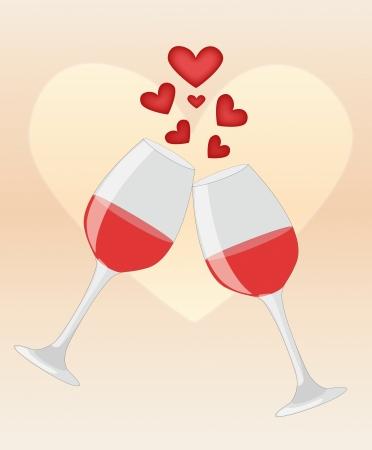 Feliz aniversario de los dos vasos de vino tinto en la ilustración el fondo del corazón