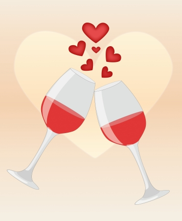 Happy anniversary  Two glasses of red wine on heart background illustration