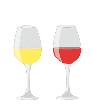 Two glass of red and white wine isolated on white background Stock Vector - 14553750