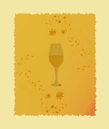 Wine glass on vintage yellow floral background Vector
