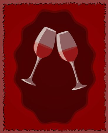 Menu template for wine bar  Two glasses on dark red background  Illustration Vector