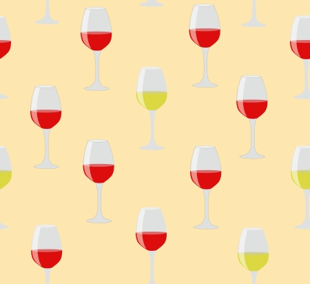 Elegant seamless of glasses of red and white wine on sweet color background Vector