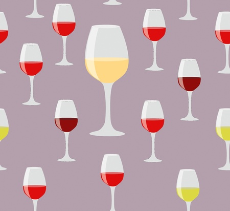 Elegant seamless of glasses of red and white wine on color background Vettoriali