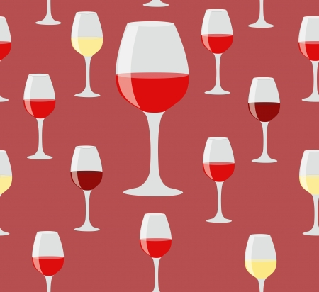 Elegant seamless of glasses of red and white wine on red background Vector