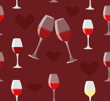 Glass of wine and heart seamless illustration on love dark red background