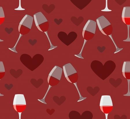 Copas de vino y corazones ilustraci�n perfecta de vacaciones oscura amor de fondo rojo Feliz