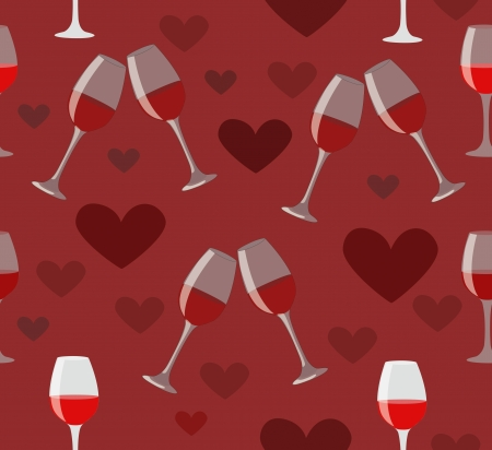 Glasses of wine and hearts seamless illustration on dark red background  Happy love holiday Vector