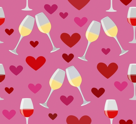 Glasses of wine and hearts seamless illustration on romantic pink background  Happy love holiday Vector