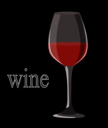 Red wine in elegant glass on black background  illustration