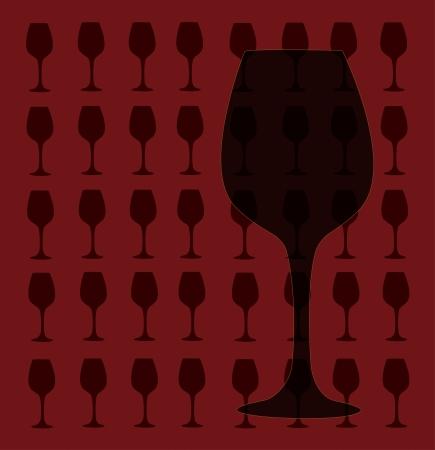 Wine glass design template  bar menu illustration on dark red background Vettoriali