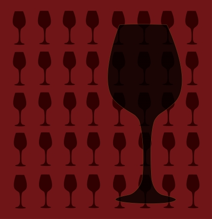 Wine glass design template  bar menu illustration on dark red background Vector