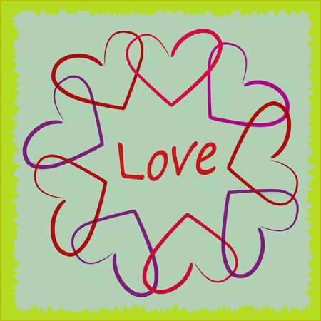 Illustration of valentine colorful hearts on abstract background